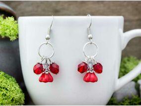 Piros kristályos harangvirág fülbevaló