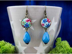 Mezei vadvirágok kék textil gombos lógós fülbevaló