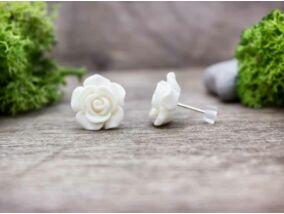 Nagy fehér rózsa fülbevaló