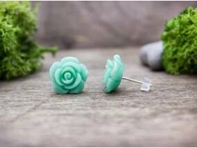 Menta nagy zöld rózsa fülbevaló