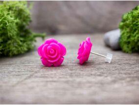 Nagy magenta rózsa fülbevaló