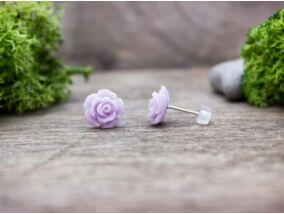 Lila rózsa fülbevaló
