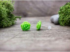 Neon zöld rózsa fülbevaló