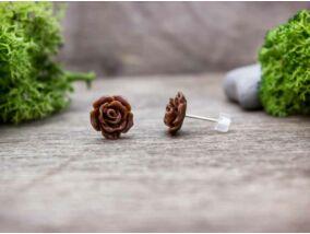 Barna rózsa fülbevaló