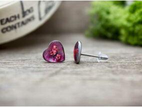 Piros szirmocskák szív beszúrós gyanta fülbevaló