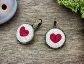 Szerelmünk lapjai textil gombos kapcsos fülbevaló