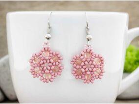 Rózsaszín virág szirom gyöngyös lógós fülbevaló