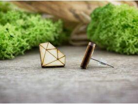 Gyémánt lézervágott beszúrós nyírfa fülbevaló