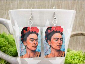 Frida Kahlo kék fém fülbevaló