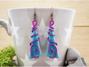 Jégcsap lila varázzsal üveg lógós fülbevaló