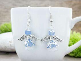 Kék színű angyal lógós fülbevaló