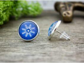 Üveglencsés karácsonyi hópehely beszúrós fülbevaló