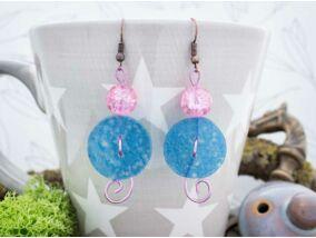 Kék és rózsaszín gomb hullám üveg lógós fülbevaló