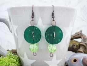 Zöld gomb hullám üveg lógós fülbevaló