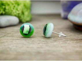 Zöld csillogás fülbevaló üveg