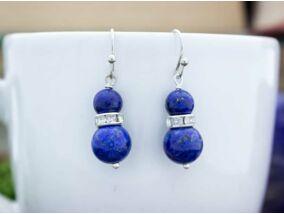 Lápisz lazuli ragyogás lógós fülbevaló