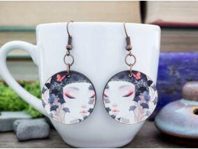 Japán csók falemez fülbevaló