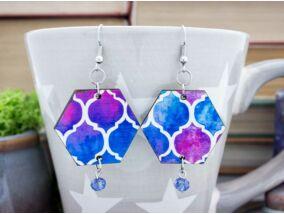 Kék és rózsaszín harmóniája fa fülbevaló