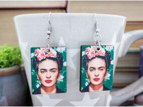 Frida Kahlo zöld falemez fülbevaló