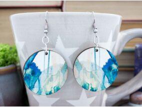 Kék festékpaca falemez fülbevaló