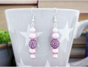 Rózsaszín lila kristályos lógós fülbevaló