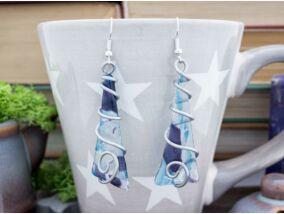 Kék spirál üveg lógós fülbevaló