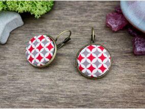 Szürke és piros retro textil gombos kapcsos fülbevaló