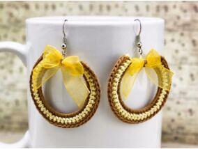 Horgolt barna és sárga fülbevaló