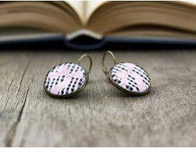 Üveglencsés rózsaszín masni fülbevaló