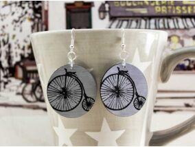 Bicikli lézer gravírozott plexi fülbevaló