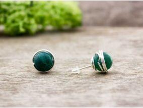 Zöld achát beszúrós drót fülbevaló