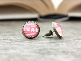 Üveglencsés karácsonyi sorminta beszúrós fülbevaló