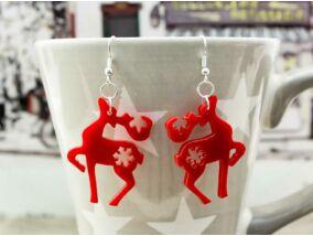 Karácsonyi rénszarvas plexi fülbevaló