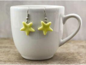 Sárga csillag üveg lógós fülbevaló