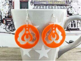 Népi motívumos narancssárga plexi fülbevaló