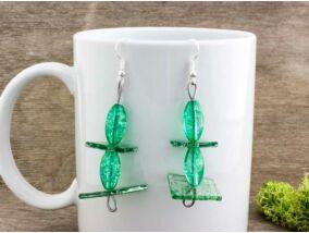 Zöld egyensúly üveg lógós fülbevaló