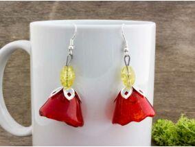 Piros harangvirág üveg lógós fülbevaló
