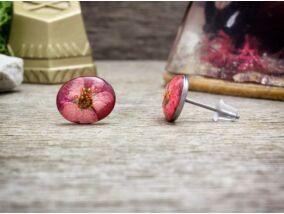 Kisvirág gyöngyvesszővel beszúrós gyanta acél fülbevaló