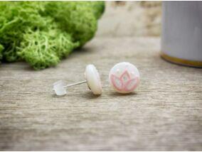 Rózsaszín tavirózsa gyöngyház beszúrós fülbevaló