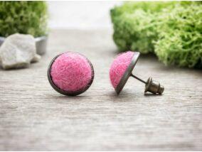Rózsaszín gömbös beszúrós nemez fülbevaló
