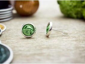 Zöld bársony beszúrós kapszula fülbevaló