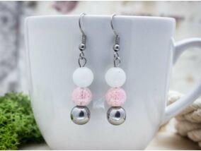 Rózsaszín vitalitás lógós vegyes ásvány fülbevaló