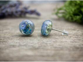 Kék virág beszúrós gyanta acél fülbevaló