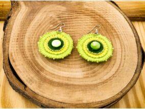 Zöld gyöngyház barkácsfilc lógós fülbevaló