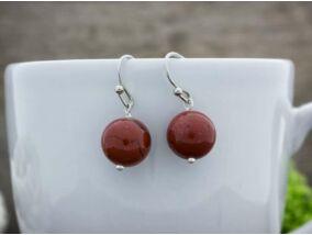 Vörös jáspis lógós ásvány fülbevaló