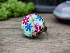 Mezei vadvirágok textil gombos gyűrű