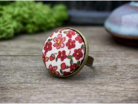 Égővörös nyári mező retro textil gombos gyűrű