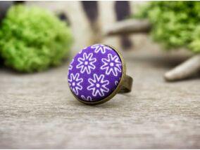 Lilla textil gombos gyűrű