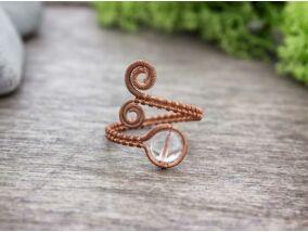Hegyikristály réz drót gyűrű