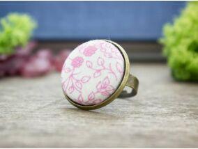 Rózsaszín kertem textil gombos gyűrű